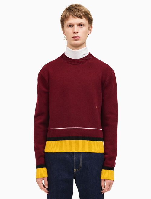 CALVIN KLEIN contrast trim crew neck sweater