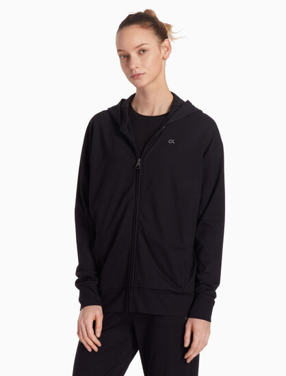 CALVIN KLEIN KNIT HOODED JACKET WITH LOGO BAND