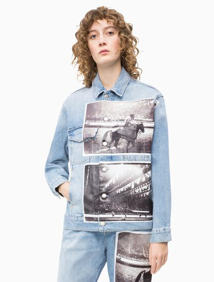 CALVIN KLEIN ANDY WARHOL WOMEN DENIM TRUCKER JACKET