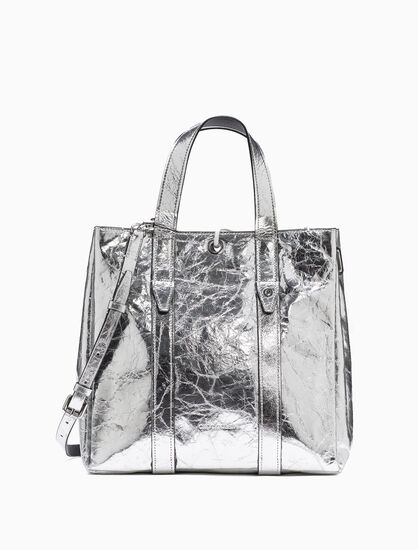 CALVIN KLEIN METALLIC LEATHER CITY トート