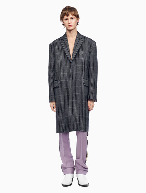 CALVIN KLEIN 加大版單排扣 BOXY 葛倫格紋大衣