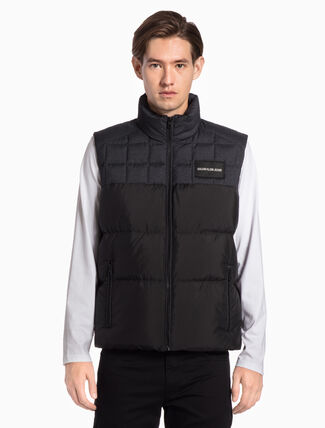 CALVIN KLEIN MIXED MEDIA BOMBER VEST