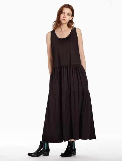 CALVIN KLEIN 머서라이즈드 인터로크 롱 드레스