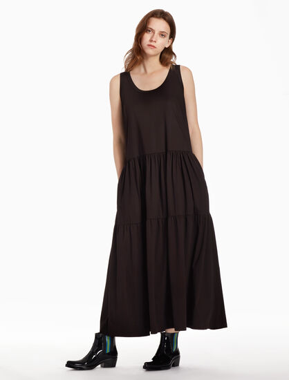 CALVIN KLEIN MERCERISED INTERLOCK LONG DRESS