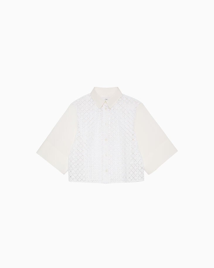CALVIN KLEIN EMBROIDERED EYELET ボクシーシャツ