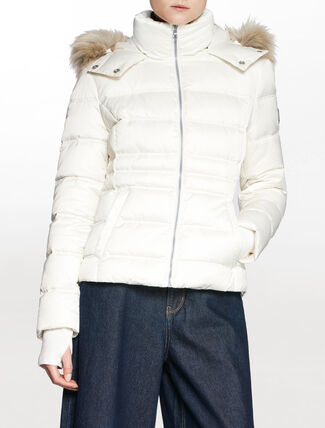 CALVIN KLEIN QUILTED FAUX FUR WITH DETACHABLE HOODED ZIP DOWN JACKET